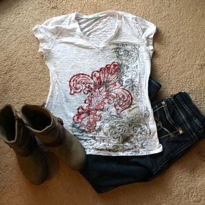 Tops - White burnout tee shirt